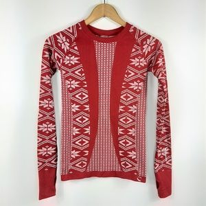 Climawear Red Nordic Print Seamless Top Size S